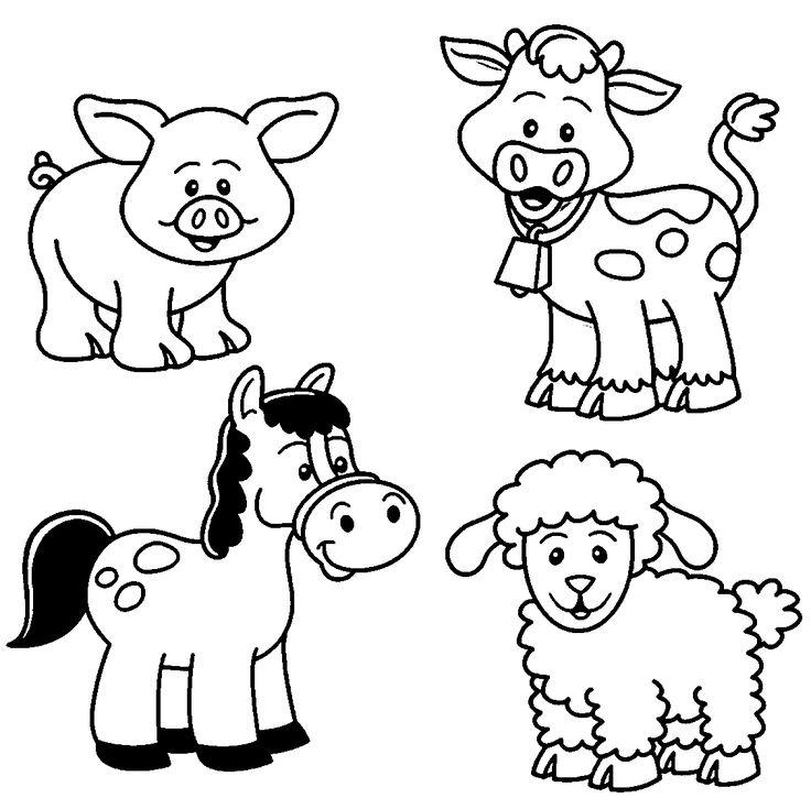 Baby Farm Animal Coloring Pages (With images) | Animal ... | free printable colouring pages farm animals
