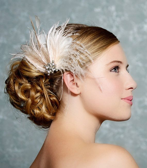 Ivory Bridal Headpiece, Bridal Fascinator, Wedding Hair Clip, Bridal Hair Accessories, Feather fascinator - Made to Order - EMMA