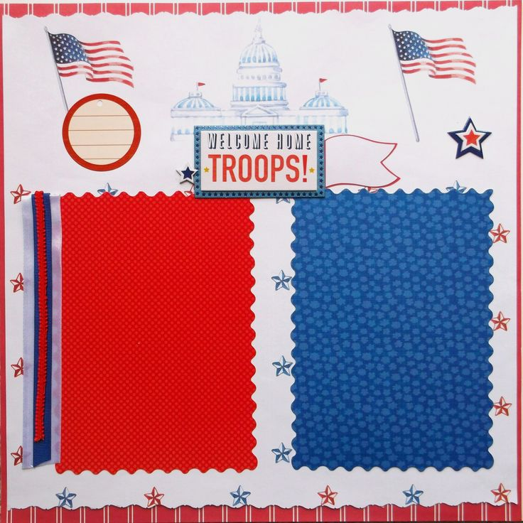 Welcome Home scrapbook page is ready to use. No assembly needed. Designed from cardstock, chipboard, sticker, die cut, and ribbons. Acid free and ships next day in sturdy packaging. For use in scrapbook or in a frame. Includes flags, stars, and sign to accent your photos