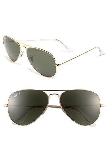 Ray-Ban 'Original Aviator' 58mm Polarized Sunglasses- Gold  Can be found on Ebay for cheaper- http://www.ebay.com/itm/Ray-Ban-Aviator-3025-L0205-RB3025-Gold-RB-3025-58MM-/321010262791?pt=US_Sunglasses=item4abdb3e307