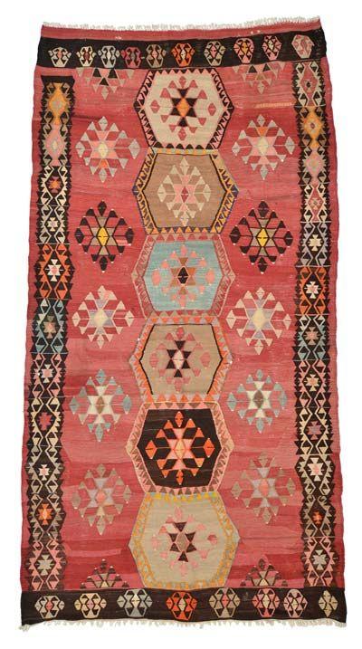 Vintage Sivas Kilim Rug around 50 years old.
