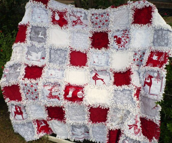 Christmas Rag Quilt Holiday Frost Red and by SunflowerRagWorks, $175.00