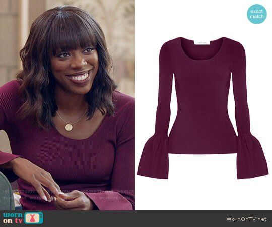 Molly's purple bell-sleeve top on Insecure.  Outfit Details: https://wornontv.net/78134/ #Insecure
