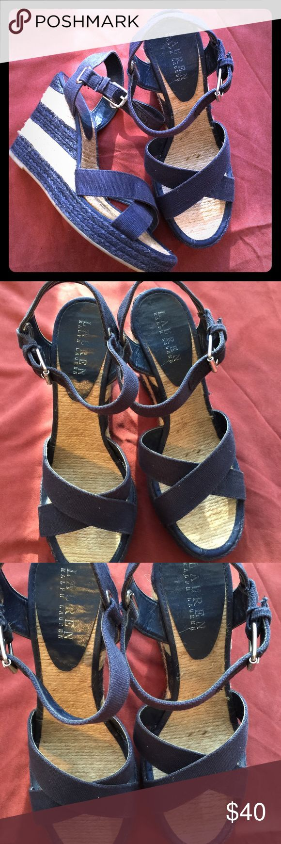 "RALPH LAUREN Canvas Navy Blue Wedges Navy blue Ralph Lauren canvas sandals with woven wedge heels. 4"" wedge with 1"" platform. Lauren Ralph Lauren Shoes Wedges"