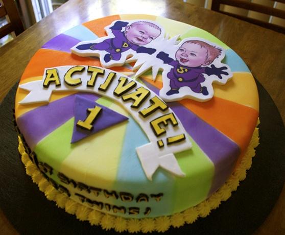 Fist Birthday Wonder Twins Cake