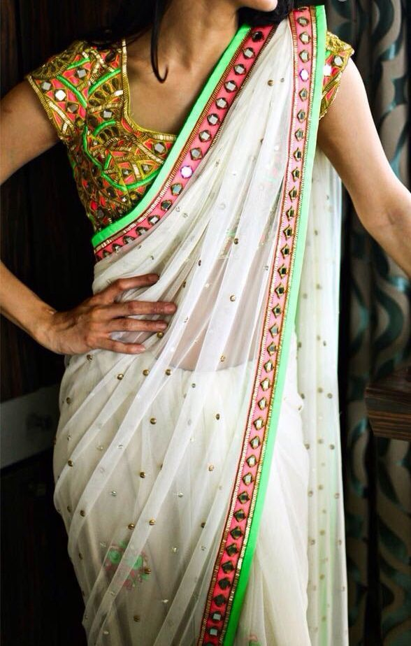 White shiffon saree with mirror border paired with mirror work blouse - MinMit Clothing