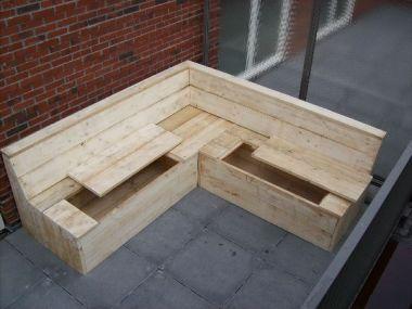 Steigerhout Loungeset met opbergplek voor Tuinstoelkussens
