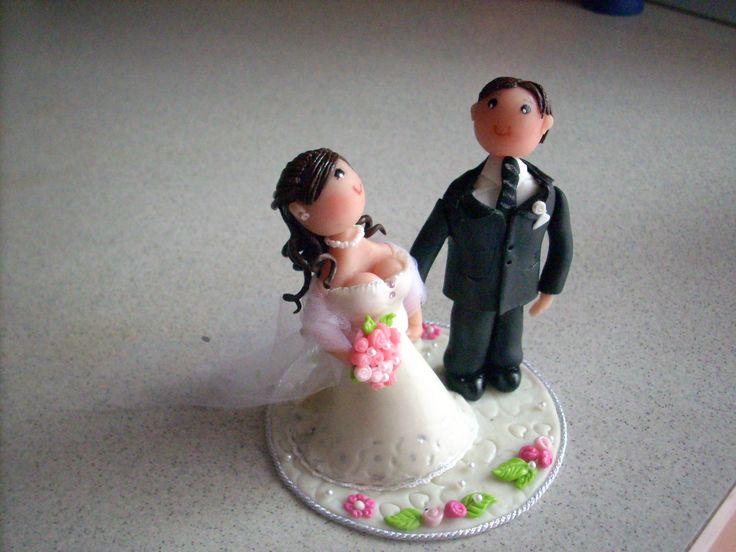 sposi per torta nuziale anche col modello del vostro vestito dipinto a mano