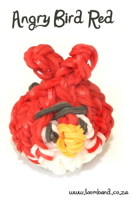 Red Angry Bird Loom Band Charm tutorial, http://loomband.co.za/red-angry-bird-loom-band-charm-tutorial/