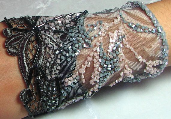 OOAK Hand Beaded Lace Cuff in Grey &Pink