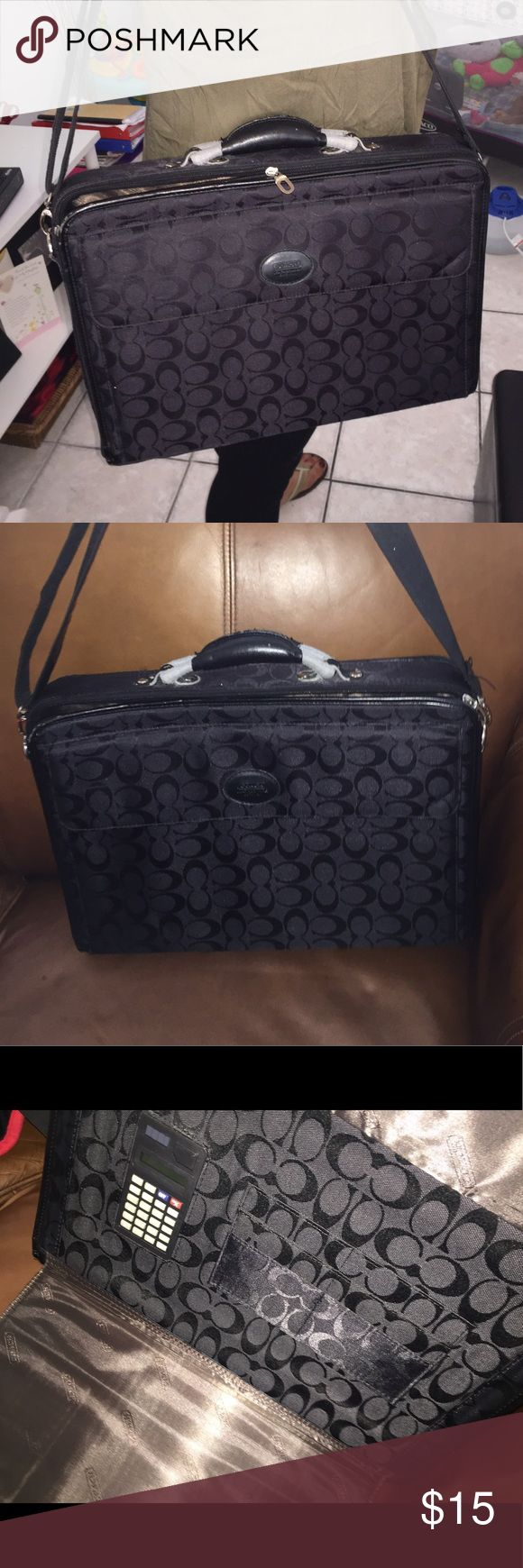 """Coach briefcase / laptop case It is used and has fraying and scuffs but it is useable. I used it for my 15-17"""" hp. Many compartments. Outside flap has A calculator and pockets. Then there is an inside with a separator where I would put books and notebooks. The other side has a big compartment where I pile out my laptop and charger. There is also a deep outside pocket. What you see is what you get. Priced low to sell.  CHeck out my other listings! Coach Bags Laptop Bags"""