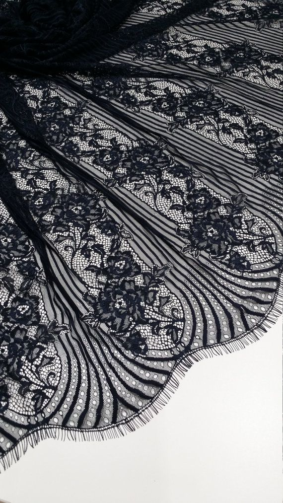 Black Lace fabric French Lace, Chantilly Lace, Bridal lace Wedding Lace Evening dress lace Scalloped Floral lace Lingerie Lace by the yard