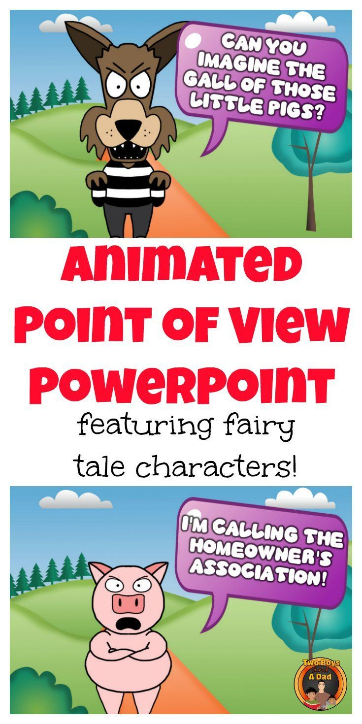 The Big Bad Wolf's point of view is very different from the Three Little Pigs. With this animated PowerPoint with sound, students can see how their point of view differs from characters from 5 different and well know fairy tales.  Printables included to help the students take notes and deepen the understanding of Point of View.  Come check out the PREVIEW!
