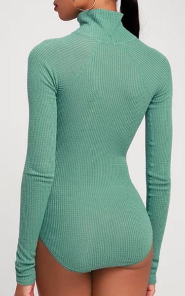 46c9c3a504e9 Free People All You Want Sage Green Thermal Turtleneck Bodysuit - FAVHQ.com