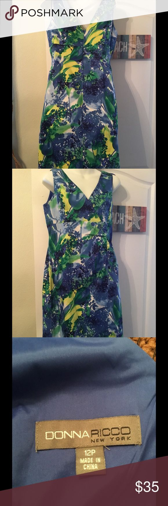 EUC Donna Ricco dress Lovely sleeveless Donna Ricco dress with gather at waist. App 38 inches shoulder to hem. Donna Ricco Dresses Midi