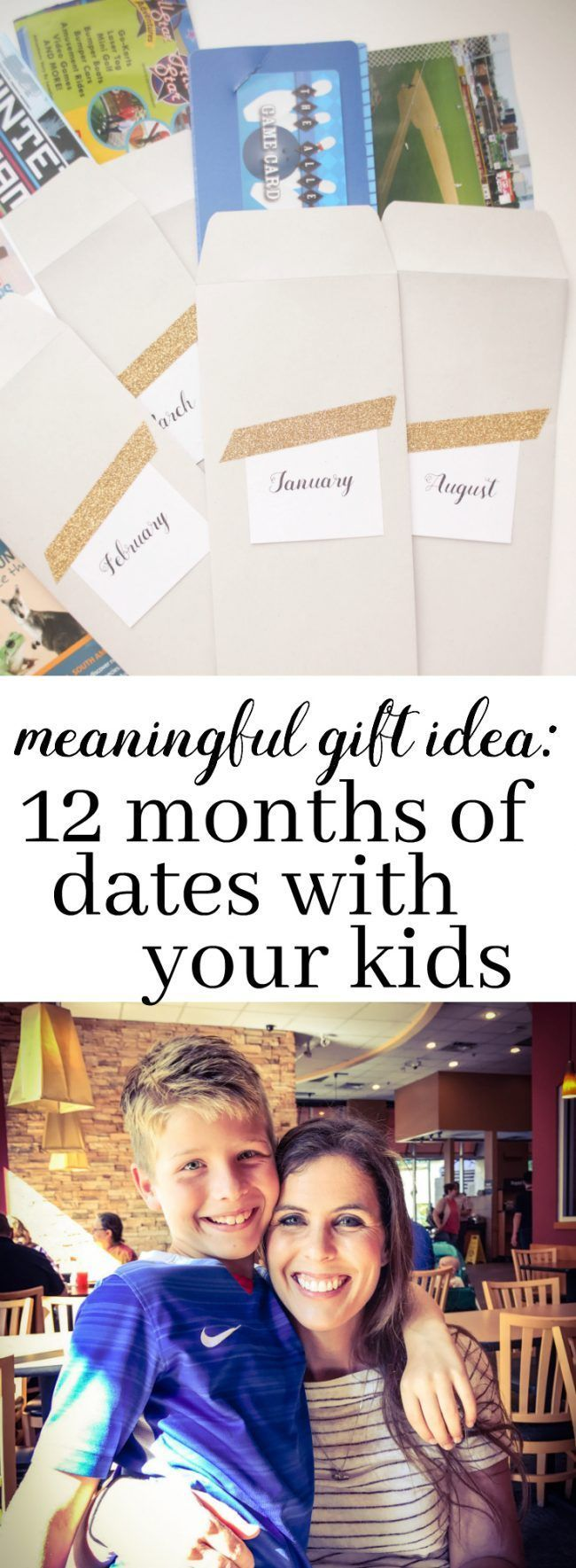 "Love this gift idea for kids! Perfect for birthdays and the winter holidays. Give kids a full year of ""dates""! They get special time with you every month to do something fun."