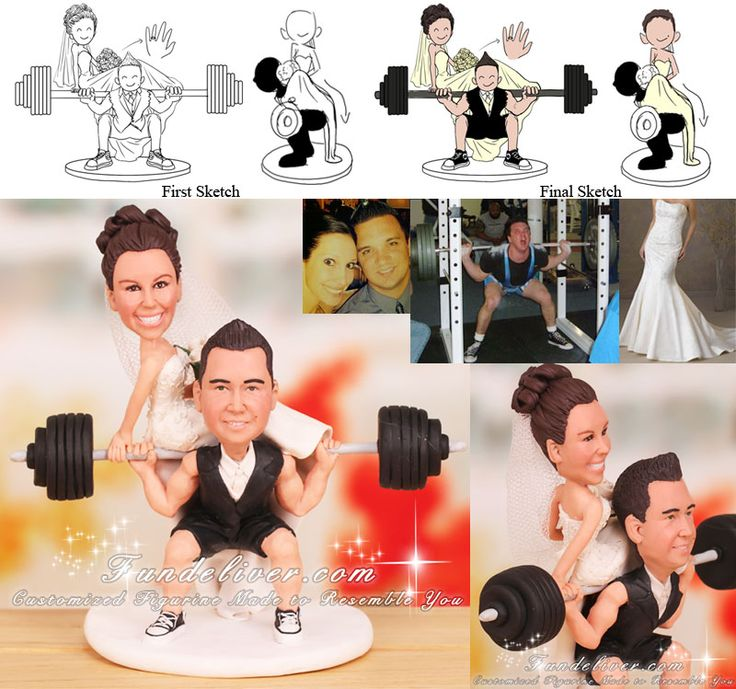 weight lifting wedding cake topper | ... Cake Toppers / Groom in Squatting Position Toppers / Powerlifting Cake