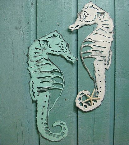 Seahorse Sign Metal Wall Art Beach House Decor.
