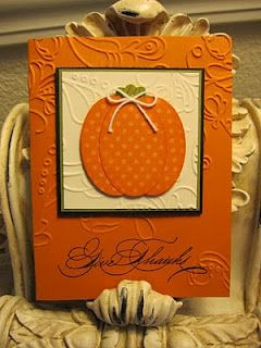 Thanksgiving card in Pumpkin Pie, Basic Black, Old Olive and Very Vanilla. oval punch used to make pumpkin. Elegant Lines embossing folder. Bakers twine tie. Clear embossing at the sentiment