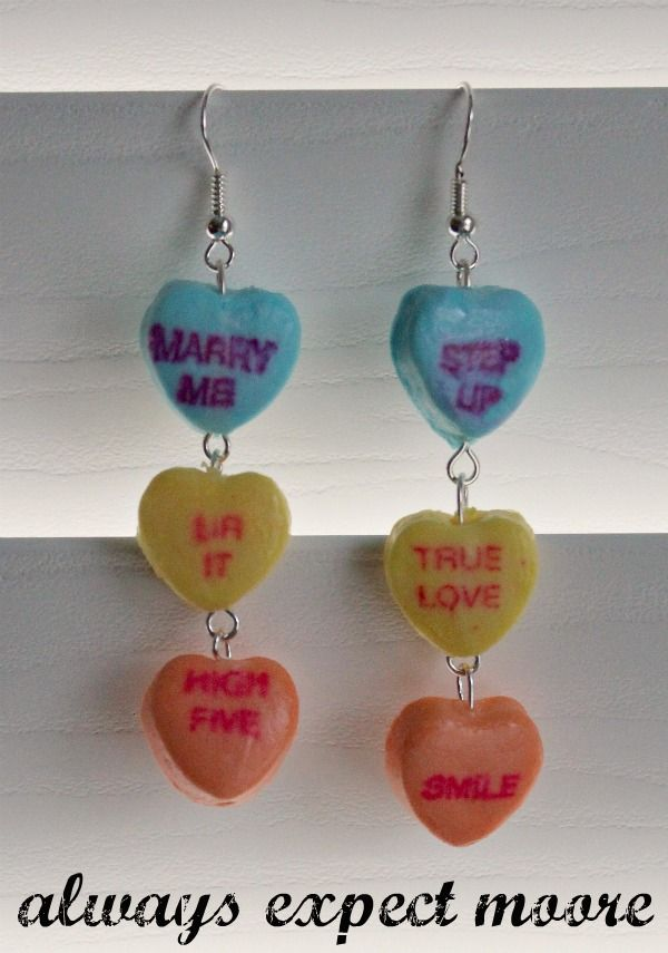 Sweetheart Candy Earrings made from real candies! Via @craftmoore