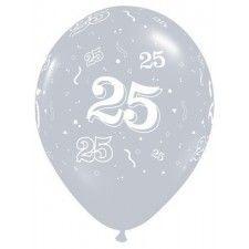 Huwelijksballonnen helium 25 jaar zilver. Deze zilveren latex ballonnen hebben een afmeting van 27 cm en zijn gevuld met helium. Deze leuke ballonnen maken van uw 25 jarig bruiloft of jubileum een extra mooi en feestelijk gebeuren. Een met helium gevulde ballon heeft een zweeftijd tussen de 18 en 24 uur. Deze zweeftijd kan worden verlengd na behandeling met Hi-Float. Bij een feest op zondag is deze behandeling aan te raden. Bij bestelling heeft u 2 opties om te kiezen: met of zonder Hi-Float…