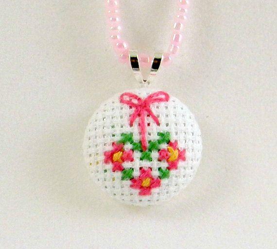 Handmade Heart Charm Necklace  Cross Stitch Jewelry by PipandAnya, $12.00