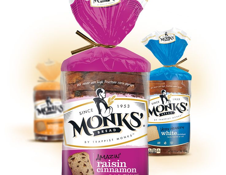 Brand identity and package design refresh for Monks' Bread.