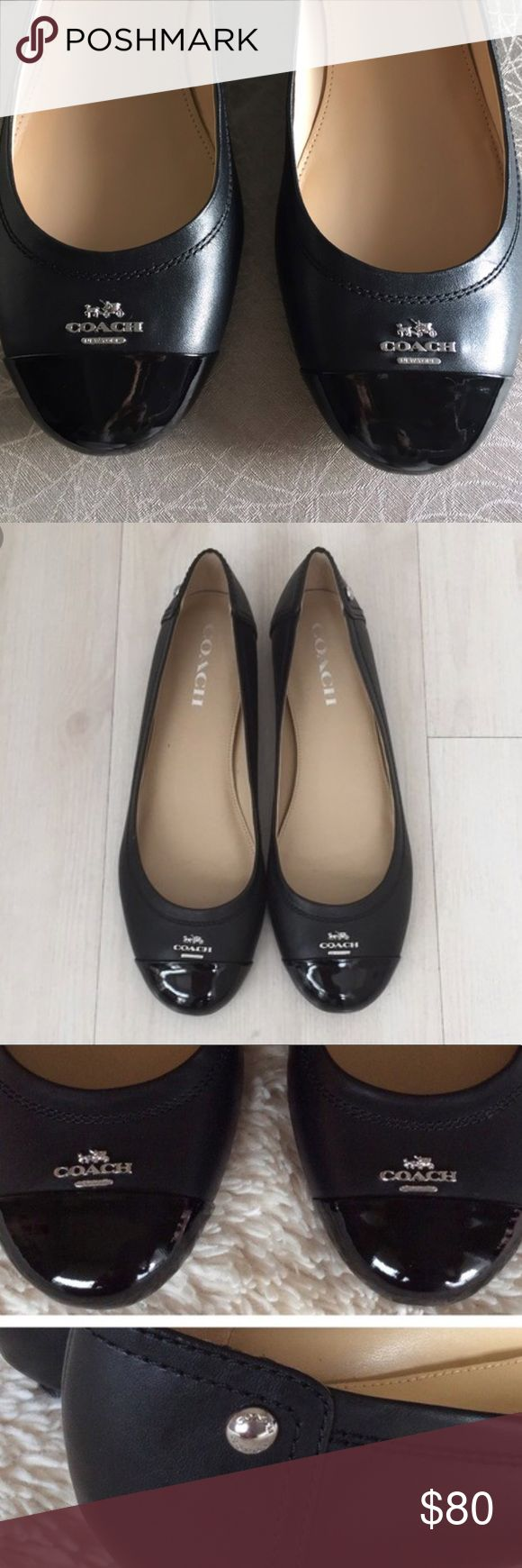 Coach Flats New authentic coach flats  Genuine leather flats  Product Details BRAND: COACH COLOR: BLACK/BLACK MATERIAL: LEATHER HEEL: 0.50 INCHES (1.27 CM) TOE SHAPE: ROUND TOE Coach Shoes Flats & Loafers