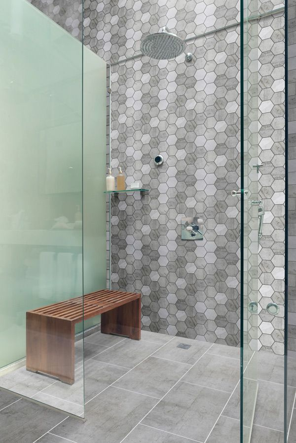 Geometric feature wall, using the Industrie  Hexagon Mix mosaic tile and Industrie Grey floor tiles available @ Choices Flooring Mackay
