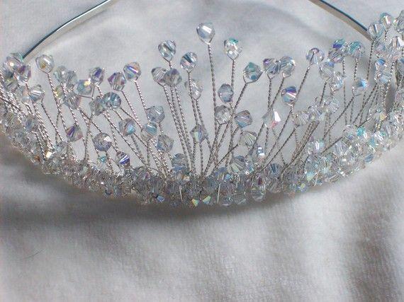 New handmade swarovski crystal silver bridal by LornaGreenTiaras