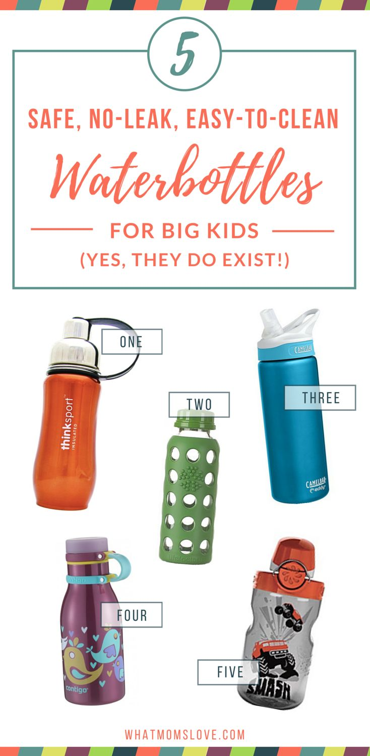Check out our 5 best reusable water bottles to keep your big kids hydrated and healthy. Easy-to-clean (no tiny parts, hurrah!), won't leak and made from the safest materials. Stainless steel, glass, BPA-free, oh my!