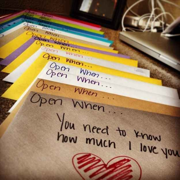 """Write """"open when…"""" cards"""