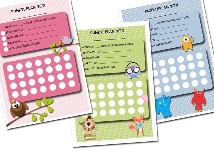 Punkteplan+-+Motivationsspaß+für+Kinder+&+Eltern+von+thingstoprint+auf+DaWanda.com