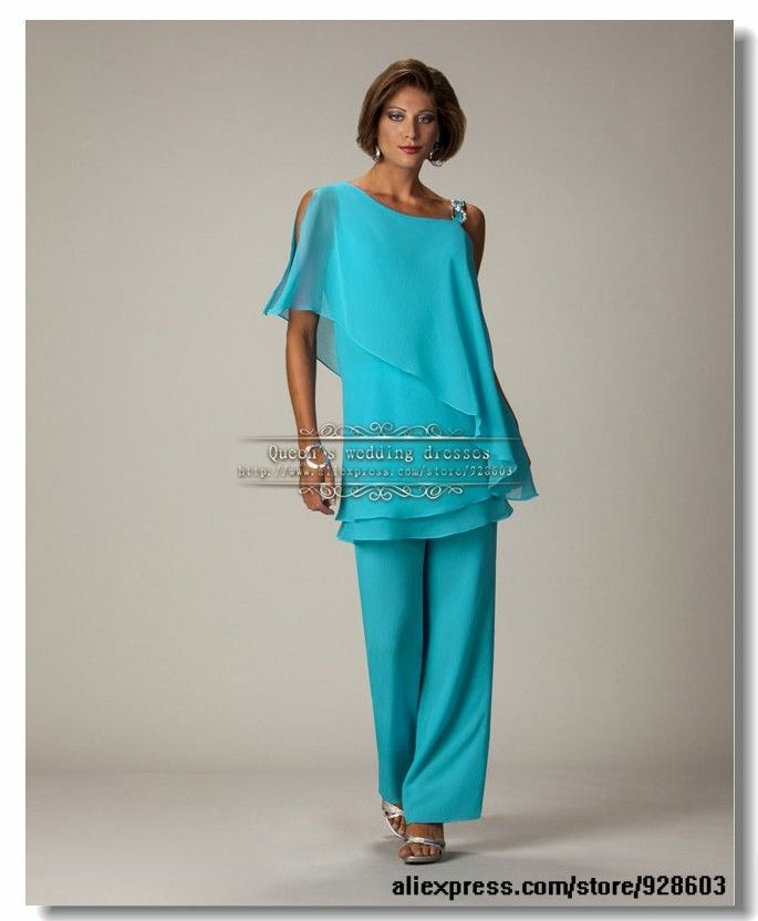 wedding party Chiffon mother of the bride pants suits