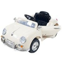 Wish   Ride On Toy Car, Battery Powered Classic Sports Car With Remote Control and Sound Toys for Boys and Girls, 2 Â  5 Year Olds (Cream)