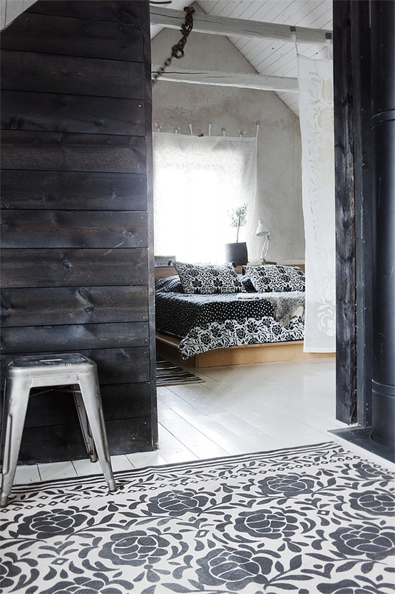 Like a wood clad wall for one of the rooms- does not have to be black wood