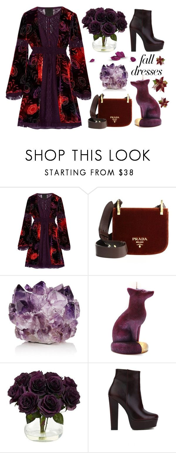 """Fall Dress"" by ana3blue on Polyvore featuring Anna Sui, Prada, McCoy Design, Nearly Natural and Akira Black Label"