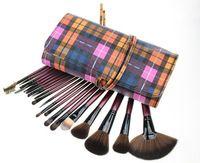 Nueva llegada de 20 PC Purple Brochas Profesional Maquillaje juego de brochas Utensilios cosméticos con el caso Plaid Clásico