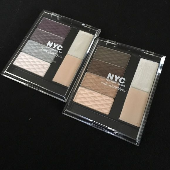 NYC Eyeshadow palettes (2) Preloved. Two NYC Individual Eyes palettes. Colors: 001 Queen Bee (gold) and 002 Manhattan's Elite (purple). Orig. $4.99 EA. Rules: No Trades Offer via offer function NYC Makeup Eyeshadow