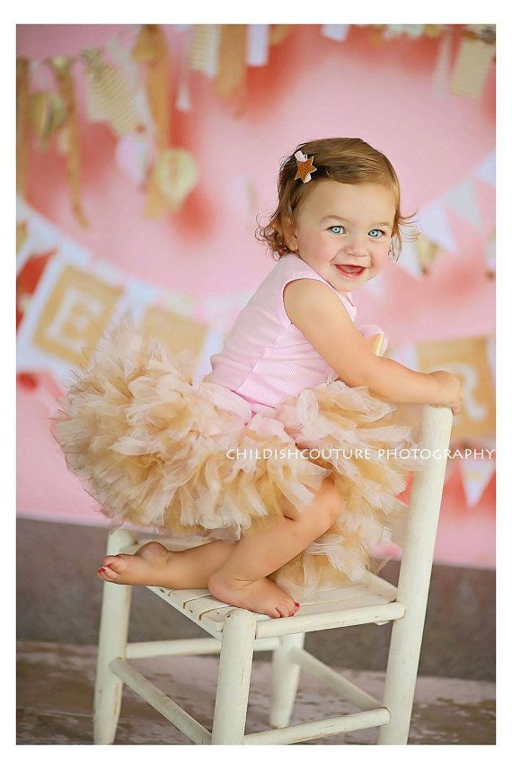 Baby Girls Birthday Tutu Dress Outfit Pink Gold by StrawberrieRose