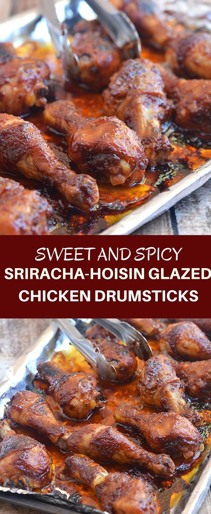 Sriracha-Hoisin Glazed Chicken Drumsticks are marinaded in a sweet, spicy Sriracha and hoisin glaze. They're easy to make for an amazing weeknight meal!