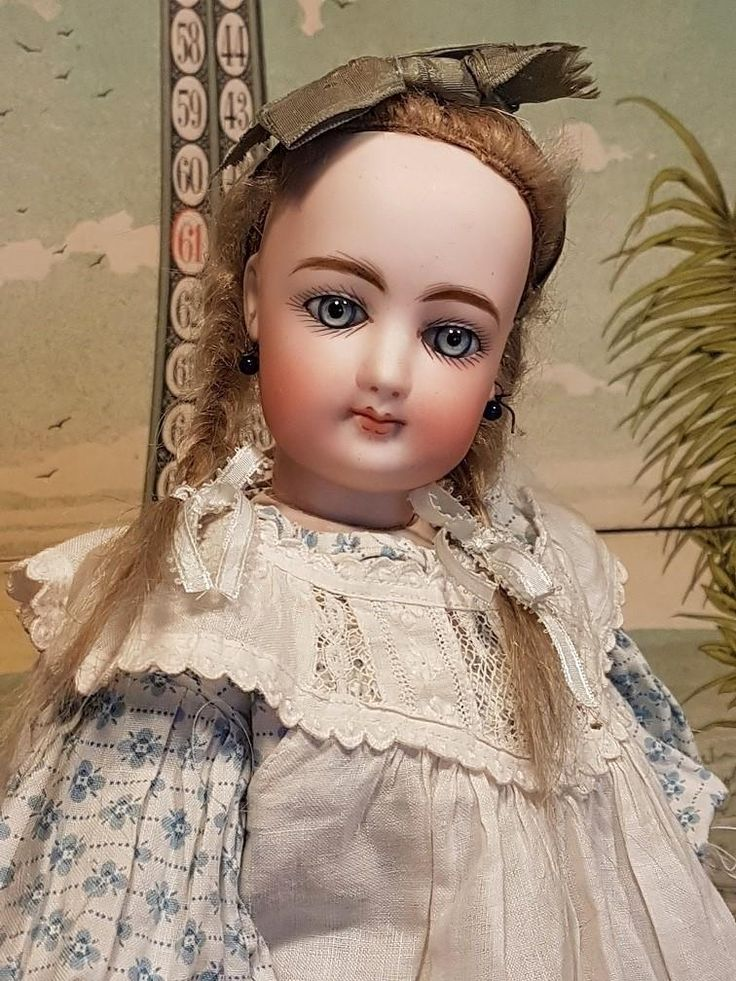 ~~~ Lovely Childlike French Teen Bisque Poupee with Original Gown ~~~