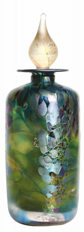 Jonathan Harris hand-blown Monet Olive flask with stopper - Claude Monet 'Bridge over the Water lily Pond.' Limited Edition flask.  Just 50 of this lovely flask in emerald/silver green, which is how the lake and trailing foliage appeared during our visit to Giverny.
