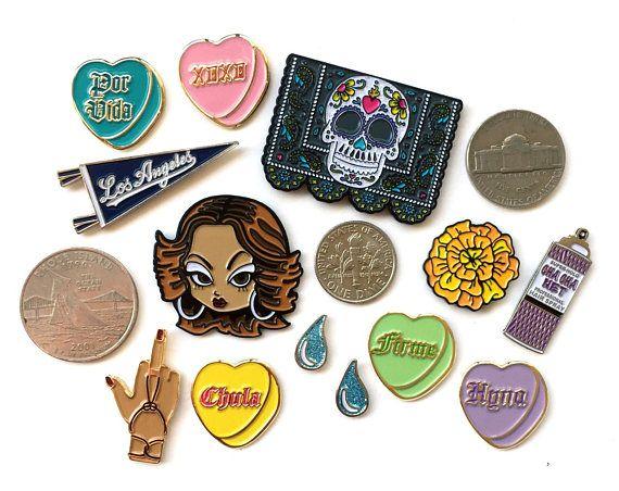 Ex-Voto Design #pincollection  https://www.etsy.com/shop/ExVotoDesign?ref=l2-shopheader-name  #EnamelPins #enamelpin #fashion #chola #love #hearts