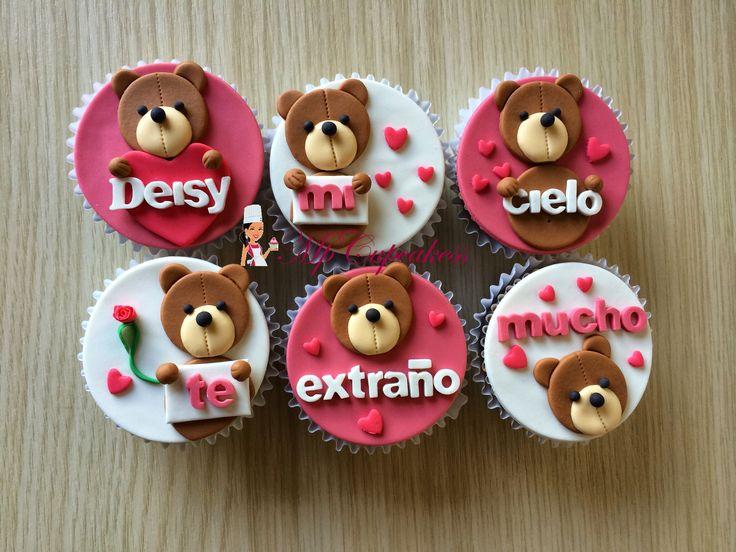 Cupcakes con mensaje de amor con osos