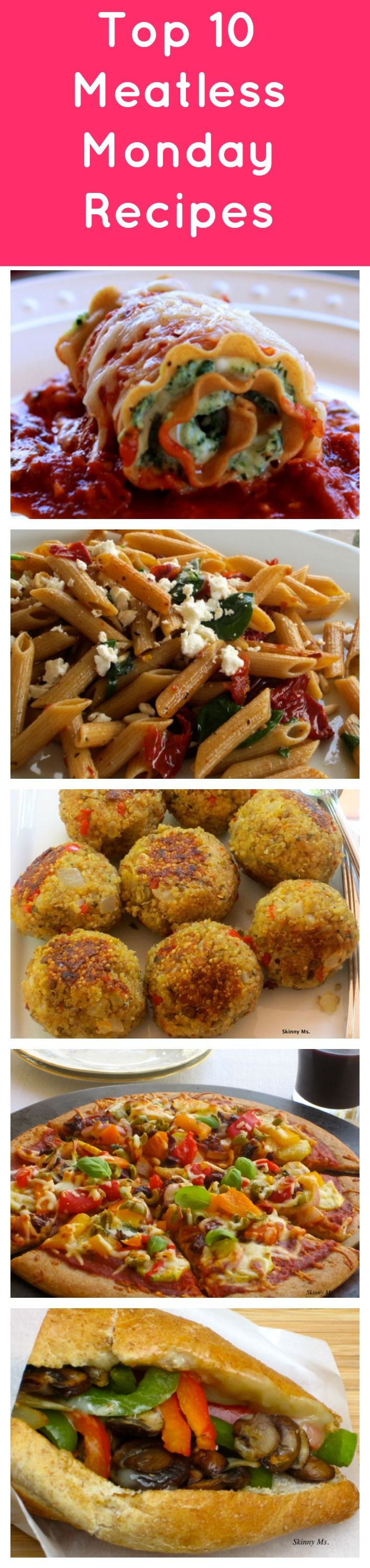 Top 10 Meatless Monday Recipes. Enjoy these tasty meals any night of the week! Recipes include: Skinny Lasagna Rolls, Mediterraean Pasta, Quinoa (Meatless) Meatballs, Zuccini Pizza and Vegetarian Philly Cheesesteak, plus more. #meatless #monday