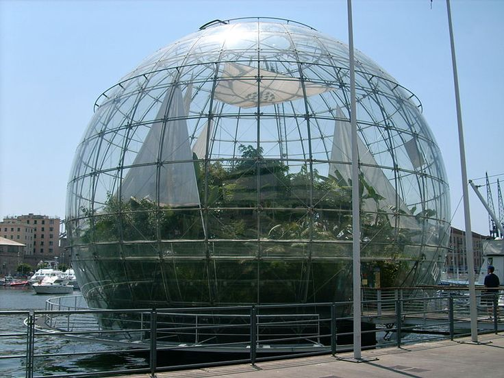 Bolla Genoa - Biosfera by Renzo Piano. The -Glass Bubble- was designed by Architect Renzo Piano on the occasion of G8 Meeting held in Genoa on July 2001.