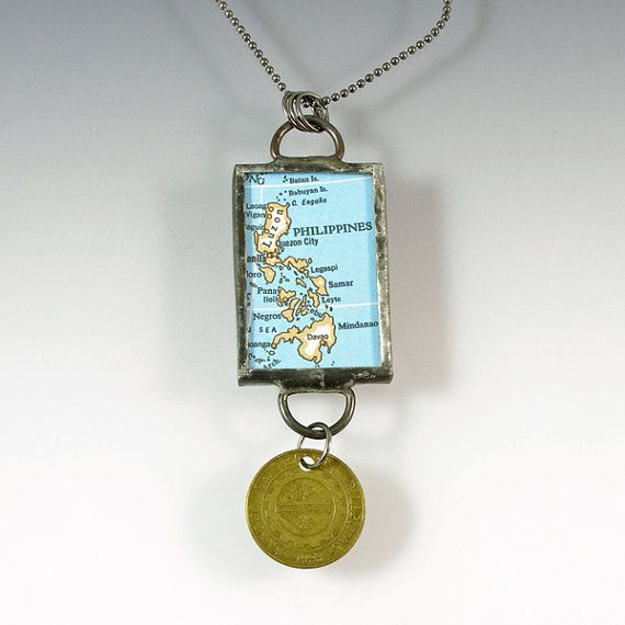 The Philippines Vintage Map and Coin Pendant by XOHandworks