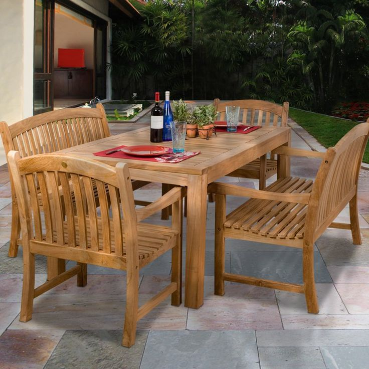 Amazonia Geneve Teak Chair and Bench Dining Set - Seats 6 | from hayneedle.com