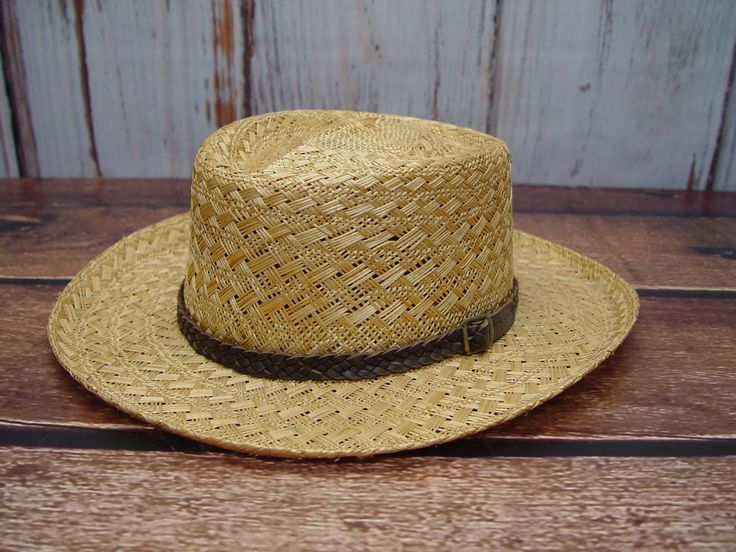 Vintage Stetson Straw Hat, Braided Leather Band, Like New, Size XL by GandTVintage on Etsy